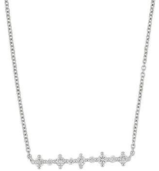 Bony Levy 18K White Gold Pront Set Diamond Detail Bar Pendant Necklace