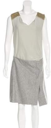 Reed Krakoff Velvet and Wool Paneled Dress Grey Velvet and Wool Paneled Dress