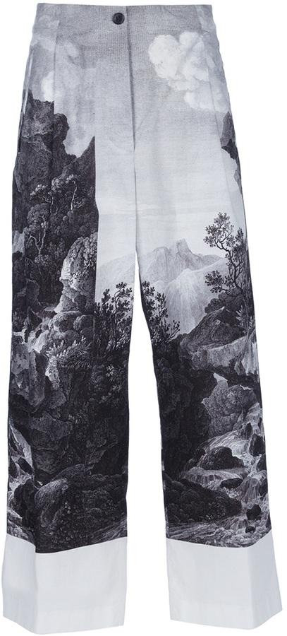 Dries Van Noten Landscape Cropped Trousers