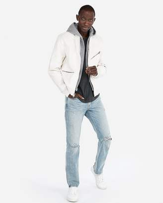 Express Minus) The Leather Hooded Quilted Bomber Jacket