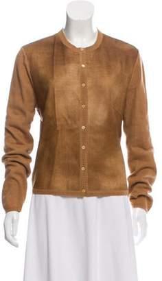 Brunello Cucinelli Leather-Accented Cashmere Cardigan Tan Leather-Accented Cashmere Cardigan