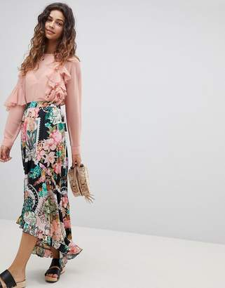 Asos Design Maxi Skirt with High Low Hem in Postcard Print