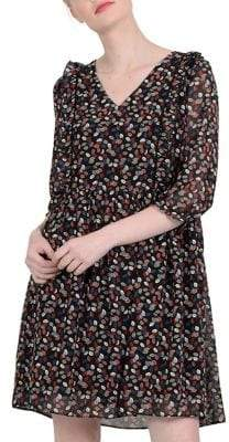 Molly Bracken Printed Leaf Chiffon Dress