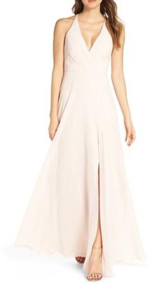 7b584c483ff Jenny Yoo Bryce Surplice V-Neck Chiffon Evening Dress