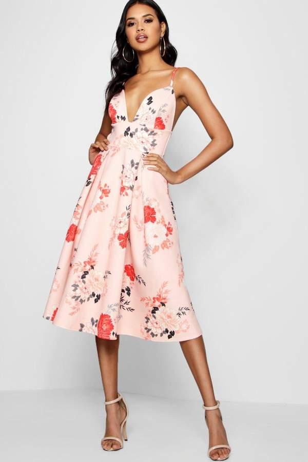 boohoo Floral Scuba Frill Skirt Midi Skater Dress