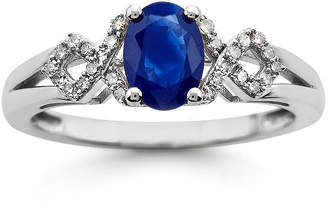 JCPenney FINE JEWELRY Lab-Created Blue Sapphire and Diamond-Accent 10K White Gold Ring