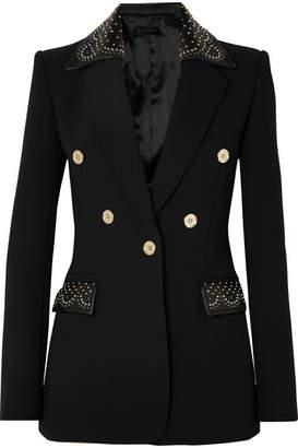 Elie Saab Studded Leather-trimmed Crepe Blazer - Black
