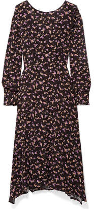 Paul & Joe Floral-print Crepe Midi Dress - Black