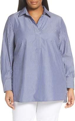 Lafayette 148 New York Venida Stripe Side Button Shirt