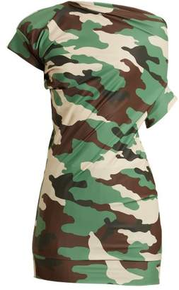 Junya Watanabe - Ruched Detail Camouflage Print Jersey Top - Womens - Green Multi