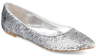 Co Brinley Womens Pointed Toe Metallic Sequin Flats