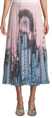 Moschino Urban-Print Pleated Midi Skirt
