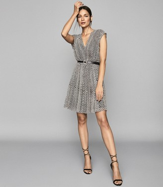 Reiss MARCY PRINTED DAY DRESS Neutral