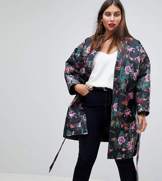 Asos Dark Floral Jacquard Kimono Jacket