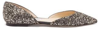 Jimmy Choo Esther D'orsay Glitter Flats - Womens - Gold