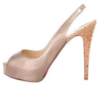 Christian Louboutin Metallic Slingback Pumps