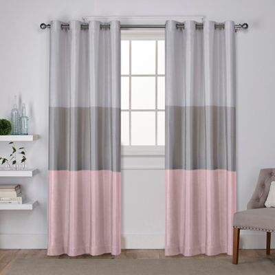 Chateau 108-Inch Grommet Top Window Curtain Panel Pair in Blush