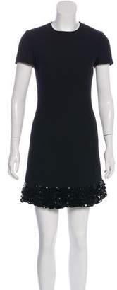 Christian Dior Short Sleeve A-Line Wool & Silk-Blend Dress