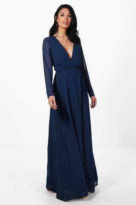 boohoo Dora Chiffon Long Sleeved Wrap Maxi Dress $52 thestylecure.com