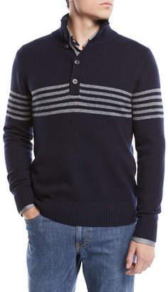 Neiman Marcus Men's Horizontal Striped Cashmere Sweater