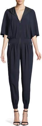Halston Cape-Sleeve Hooded Zip Jumpsuit