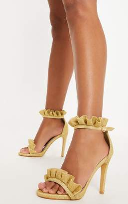 PrettyLittleThing Gold Glitter Frill Strap Heels
