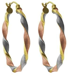 14k Tri-Color Gold Satin and Twist Hoop Earrings