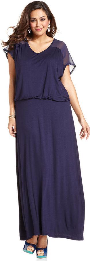 Design 365 Plus Size Dress, Short-Sleeve Blouson-Waist Maxi