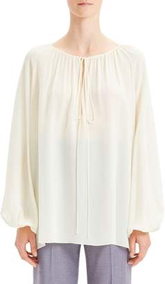 Theory Tie Neck Silk Chiffon Blouse