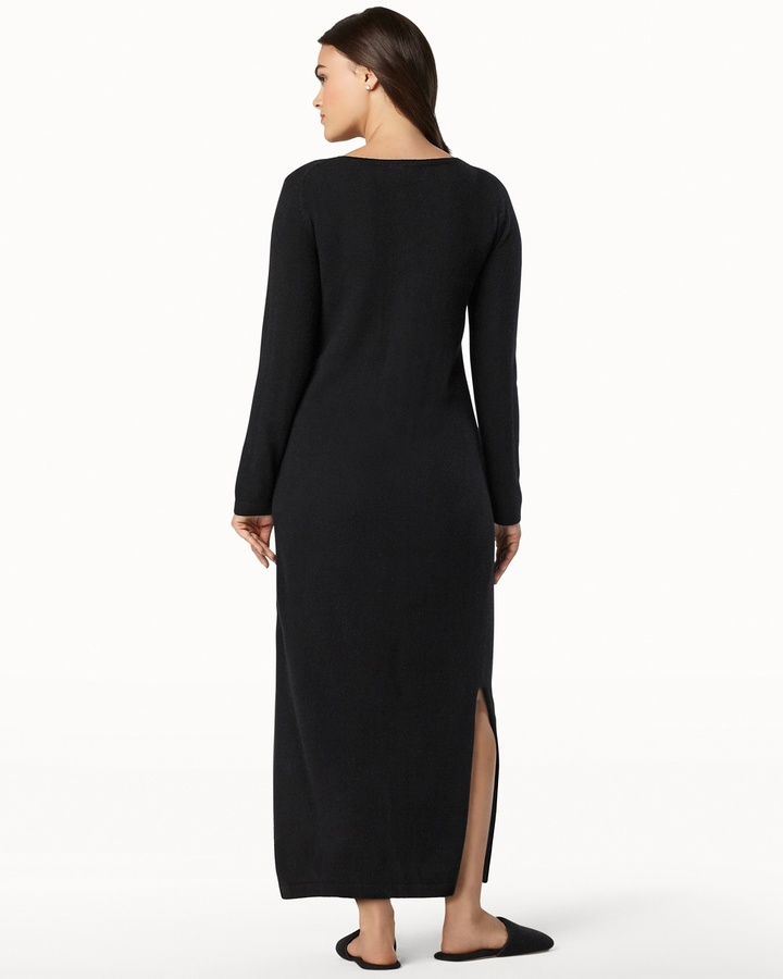 Soma Intimates Long Zip Cashmere Robe Black