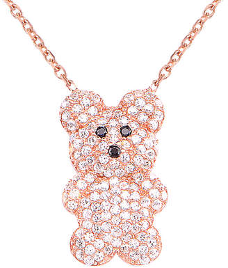 Gabi Rielle Rose Gold Over Silver Cz Bear Pendant Necklace