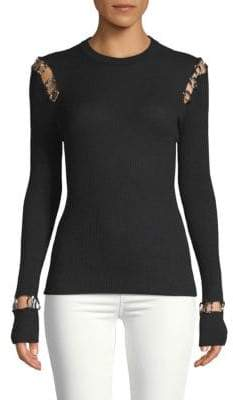 Ribbed Metallic Cashmere Top
