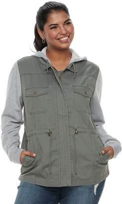 Mudd Juniors' Plus Knit Sleeve Utility Jacket