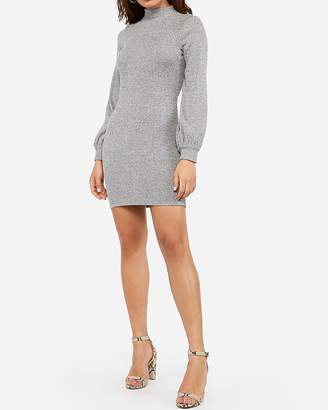 Express Cozy Ribbed Mock Neck Bodycon Dress