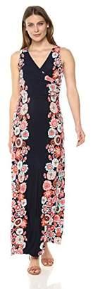 London Times Women's Sleeveless V Neck Side Shirring Maxi Dress
