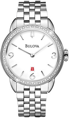 Bulova 26mm Bracelet Watch w/ Diamond Bezel & White Dial $825 thestylecure.com