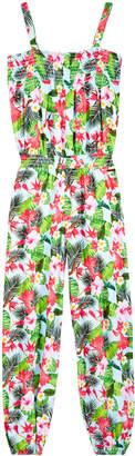 GUESS Tropical-Print Jumpsuit, Big Girls