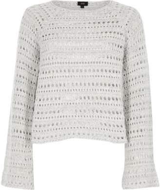 River Island Womens Light grey open knit wide sleeve sweater