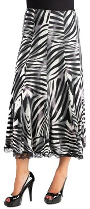 7de4dd681b 24/7 Comfort Apparel 24seven Comfort Apparel Flowy Zebra Print Midi Skirt