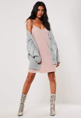 Missguided Gray Oversized Slouchy Cable Knit Cardigan