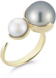 Mizuki Fluid Double Pearl Open Ring in 14K Yellow Gold