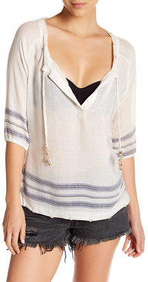 Letarte 3/4 Sleeve Striped Shell Bead Embellished Cover Up $218 thestylecure.com