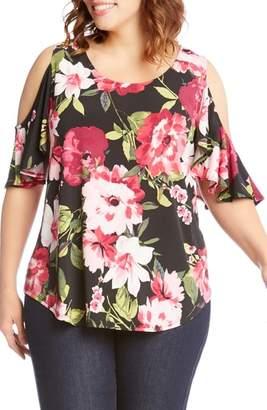 Karen Kane Ruffle Sleeve Floral Cold Shoulder Top