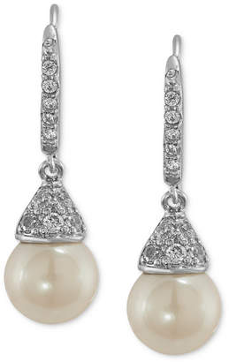 Carolee Earrings, Silver-Tone Cubic Zirconia and Glass Pearl Drop Earrings (6-9/10 ct. t.w.)