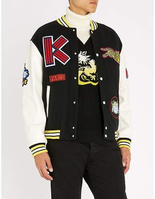 Kenzo Logo-patch wool-blend and leather varsity jacket