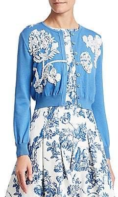 Oscar de la Renta Women's Toile du Joie Virgin Wool Embellished Cardigan