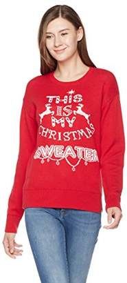Ugly Fairisle Unisex Adult Jacquard This is My X'Mas Sweater Crewneck Long Sleeve Christmas Sweater M Red/White