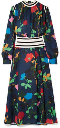 MSGM Ribbed Knit-trimmed Floral-print Crepe De Chine Maxi Dress - Navy