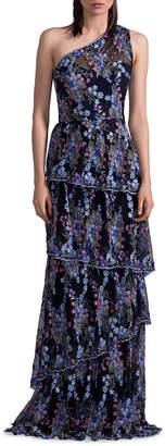 David Meister One-Shoulder Floral-Embroidered Tiered Evening Gown