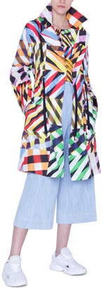 Akris Punto Hooded Patchwork Print Rain Jacket